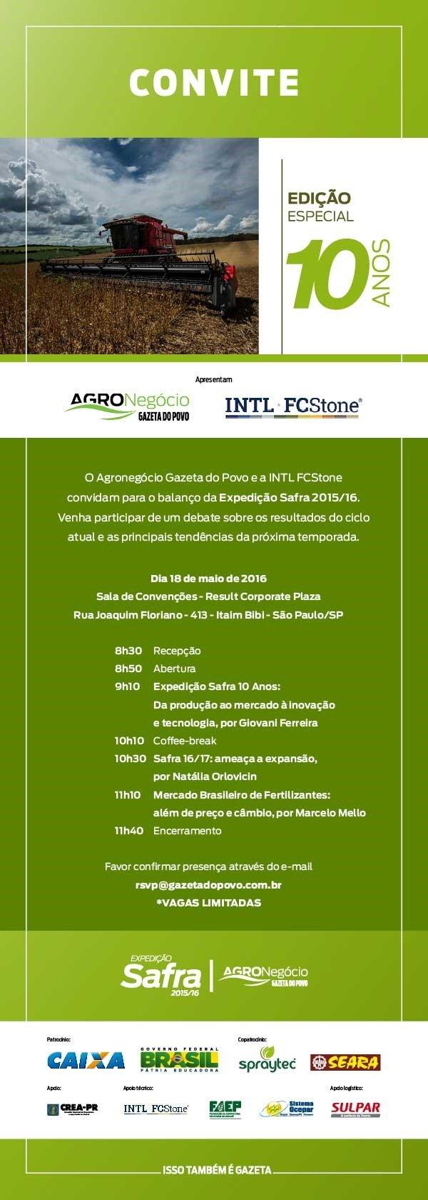 Convite - Seminário Balanço da Safra 2015-16 (PRS)